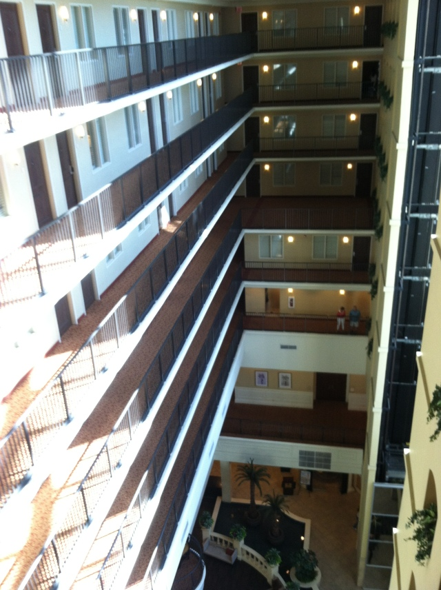 View of the atrium from the eighth floor.  It almost gives me vertigo.